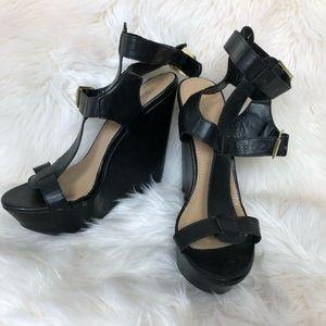 Breckelle's Black Chunky Strap Heel Size 10